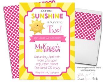 You Are My Sunshine Invitation, Sunshine Party Invitation, Sunshine Birthday Invitation, Girls Birthday Invite, 1st Birthday Invitation