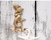 MEGA SALE GOLD Mermaid Cast Iron Hook / Nautical  / Beach / Mermaid Decor / Key Hook
