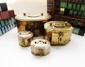 Brass Cricket Box Collection, Four Vintage Brass Boxes, Coffee Table Decor, Boho Chic, Chinoiserie