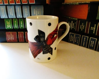 Rare Christian Dior Mug, La Parisienne, Porcelain Designer Mug, French Chic, Dior Glove