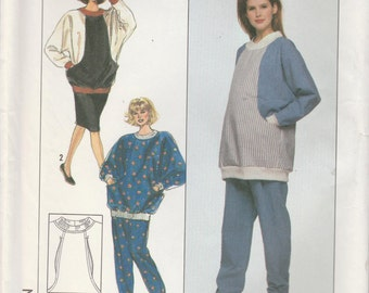 Maternity Top Pattern Nursing Top Skirt and Pants Loose Fitting Misses Size 10 - 24 Uncut Simplicity 9376