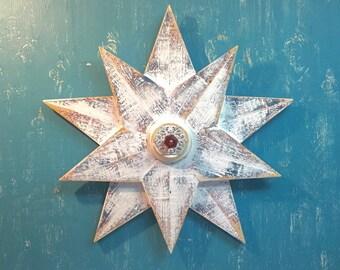 Wooden Star Wall Art Sign White Beach House Nautical Barn Star Glass Knob by CastawaysHall - READY TO SHIP