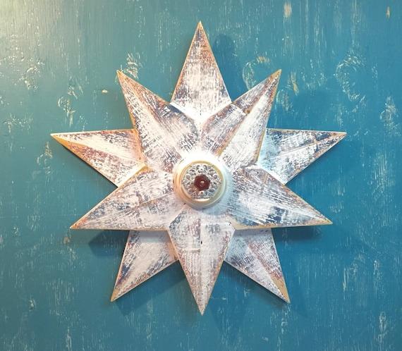 Glass Star Wall Decor : Wooden star wall art sign white beach house nautical barn