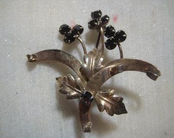 "Vintage Black Rhinestone Leaf & Flower Brooch, 1950s  Black Faceted Crystal Glass Prong Set Rhinestones,  1 3/4""x2"", 1 Pc"