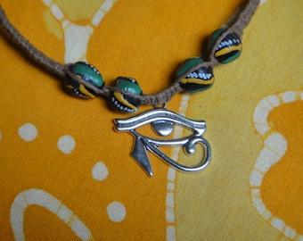 Eye of Horus Pendant African Bead Hemp Necklace Mens Jewelry Gift for Him Tribal Choker