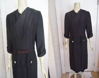 Classic Black Rayon Peplum Vintage 1940's 1950's Women's WWII Dress NWT L XL