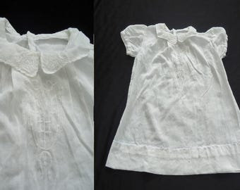 Sheer White Embroidered Vintage 1950's Infant Baby Girl Puffsleeved Dress 6 Mo