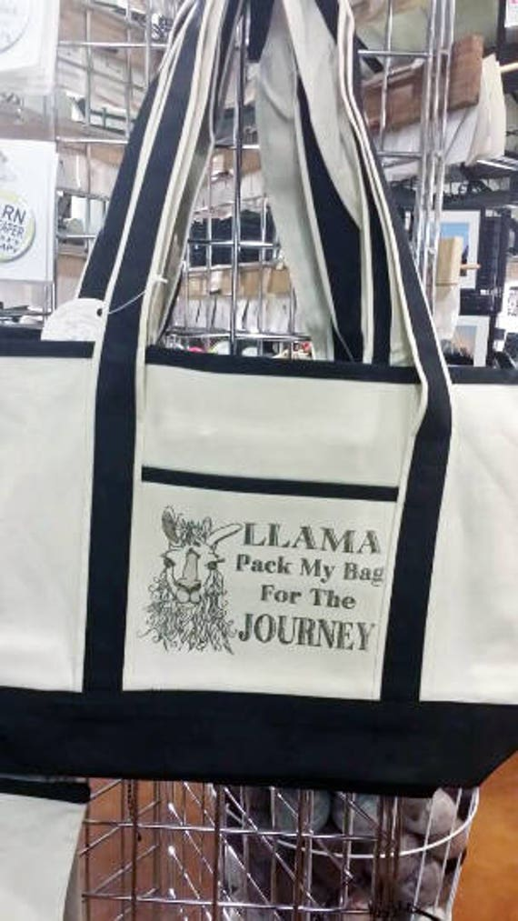 Heavy canvas project/shopping bag with Whimsical Llama