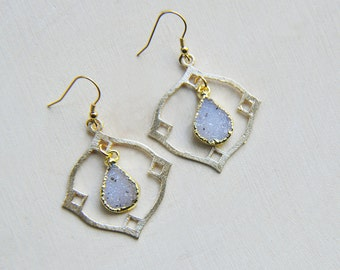 Druzy Teardrop Earrings, Druzy Earrings, Druzy Gold Earrings, Druzy Jewelry, Druzy, Boho Earrings, Gypsy Earrings, Gold Earrings, OOAK