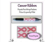 ON SALE Bead Pattern Peyote(Pen Wrap/Cover)-Cancer Ribbon