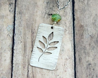 Leaf Necklace - Nature Necklace - Nature Jewelry - Botanical Jewelry - Outdoor Necklace - Cut Out Necklace - Silver Minimalist Necklace