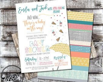 Pizza, Pop, Babies! April Fool's Day Baby Shower Invitation - DIY Printing or Professional Prints
