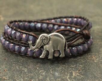 Colorful Elephant Jewelry Silver Purple Elephant Bracelet