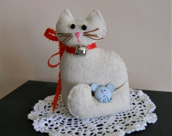 Little Cat Doll with a Mouse - Stuffed Cat with Bell Collar - Cat and Mouse Shelf Sitter - Plush Cat Pocket Pet