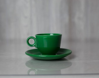 Vintage Fiesta Ware ring handled Tea cup and saucer, medium green, cobalt, ivory or turquoise