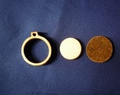 """Wooden Mini Embroidery hoop for Necklaces or pendants - 1"""" size"""