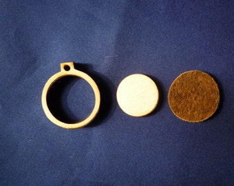 "Mini Round Wooden Embroidery hoop for Necklaces or pendants - 1"" size"