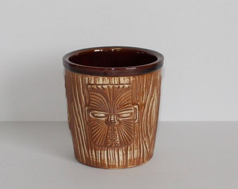 Vintage Otagiri Mercantile Company OMC Three Faced Tiki Bucket Mug Brown