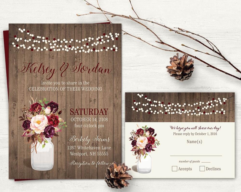 Rustic Wedding Invitation Sets: Marsala Wedding Invitation Set Country Wedding Mason Jar