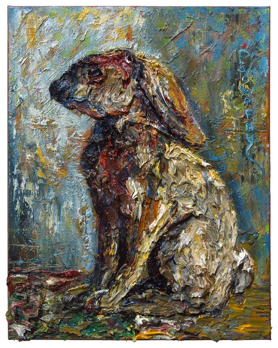 SOLD -- Oil Paint on Canvas of 20 by 16 by 3/4 in./ Original oil painting art signed animal abstract rabbit bunny wildlife nature