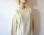 Vintage Irish Fisherman Sweater chunky knit wool pullover crewneck