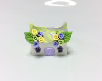 Miniature fairy cottage in lilac and yellow handmade from polymer clay