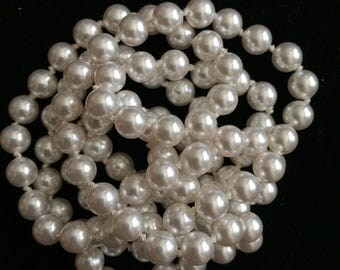 Hand knotted Swarovski 6mm pearls 28 inch white crystal necklace, bride wedding mother bridesmaid mothers day birthday gift wife bridal jewe