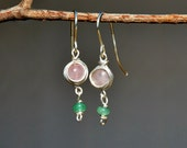 Silver Feminine Dangle Earrings. Rose Quratz Aventurine Earrings. Stone Earrings Pink Earrings Handmade Jewelry Silver Jewelry Free Shipping