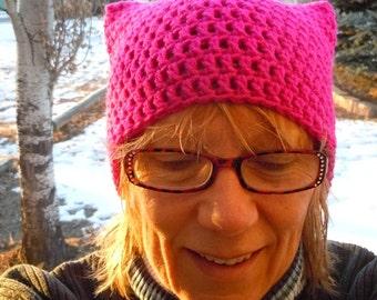 hot pink yarn Pussyhat