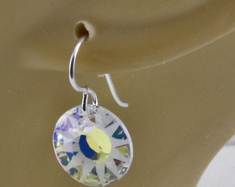 Handmade  Blue And White Crystal Earrings 14mm Crystal Disc on Silver Hooks Oscarcrow