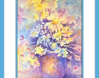 Impressionistic Watercolor, Watercolor Spring Daisies, Pastel Bouquet, Floral Art, Feminine Decor, Pink Blue, Art With Heart, Martha Kisling