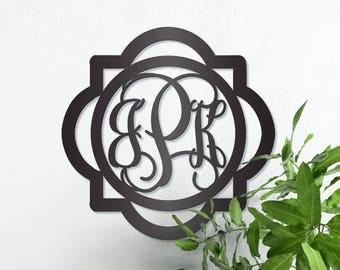 Double Framed Metal Triple Monogram Framed Initial Letter