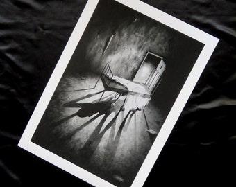 Large print of Stephen Under The Bed, giclee print, horror art, horror print, fantasy art, monster art, monster print, black and white
