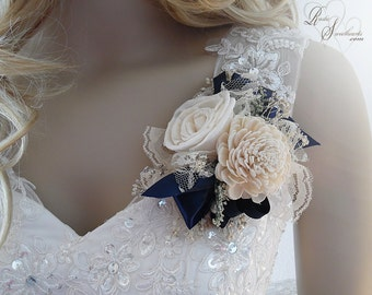 Ships in 5 days ~~~ Navy Blue Sola Flower Corsage, Wrist Corsage or Pin On Corsage.