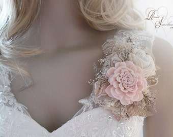Ships in 5 days ~~~ Blush Pink Sola Flower Corsage, Can be worn as a Wrist Corsage or Pin On Corsage.