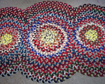 New Not Antique Hand Handmade Folk Art Wool 3 Circle Braided Rug