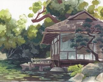 Abandoned Teahouse, Kyoto- Mini Landscape Painting