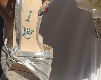 I DO Crystal Shoe Decals in Blue with Diamond Ring