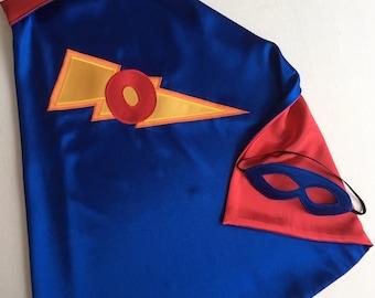 Superhero Cape and Mask Set super hero lightning bolt cape costume personallized monogram birthday boys girls kids toddler babys Easter gift