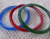 Vintage bracelets, glass bangles, bracelet lot (3), red, blue, and green bangles, 8 inch bracelets