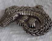 Vintage brooch,crocodile brooch, alligator brooch,silver tone brooch,wild animal pin, deep south, statement jewelry