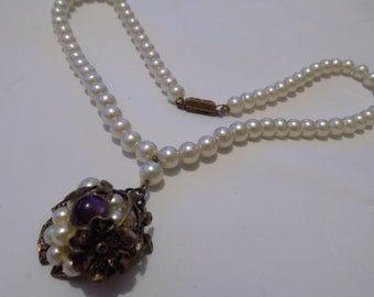 Vintage 6 mm. faux pearl necklace with ornate floral pendant, possibly Miriam Haskell, jewelry