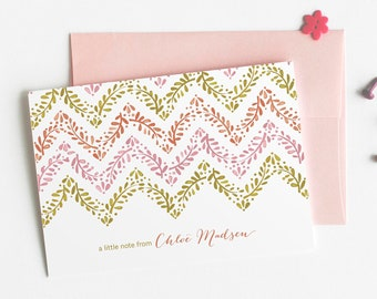 Chevron Personalized Stationery, Set of 12 Floral Note Cards // FLORAL CHEVRON