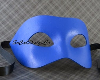 Blue Leather, Masquerade Mask, For Men, Leather Mask, Halloween Mask, Leather Masks, Venetian Mask, Blue Leather, Mask, Halloween, Costume