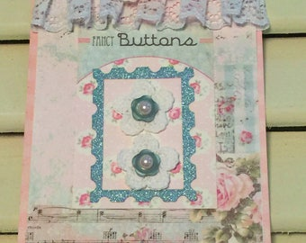 Shabby Birthday Card, Sewing Button Card, Vintage Style, Handmade Card, Embellished Card,Greeting Card, OOAK