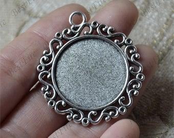 6 pcs Antique silver flower round Cabochon pendant tray (Cabochon size 25mm),bezel charm findings,lacework findings,cabochon blank finding