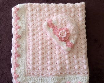 Pale Pink And White Blanket & Hat, Beautiful Pattern, Stunning Gift