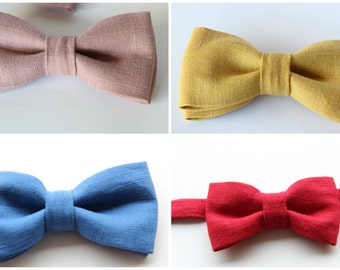 Bow tie set linen, set of two bow ties
