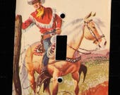 1956 Vintage Little Golden Book Roy Rogers and the Indian Sign Switch Plate Wallplate Light Cover Cowboy Horse Trigger Western