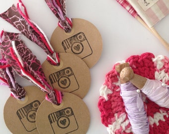 Instagram Heart Camera Tags (Set of 4) - Gifts, Packaging, Thank you, Gift Wrap, Round Tags, Cardstock, Supplies, Favors, Instagram Party